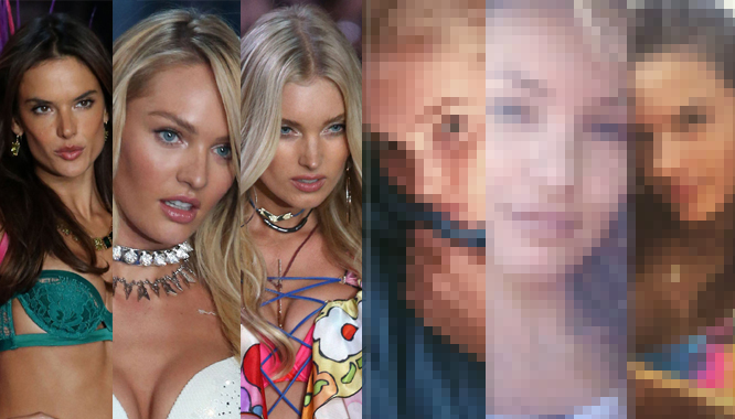 Seksowne modelki Victoria's Secret bez i z makijażem
