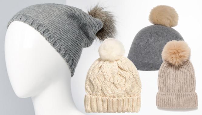 czapki z futrzanym pomponem
