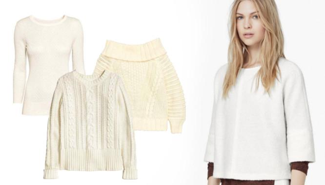 biały sweter