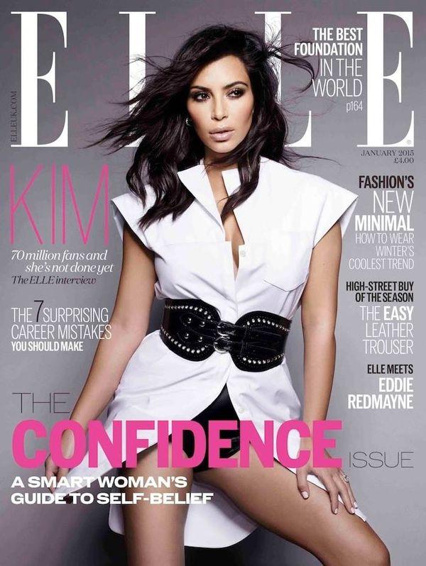 Kim Kardashian aż na trzech okładkach styczniowego Elle!
