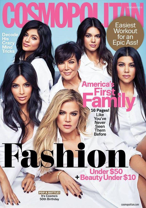 Klan Kardashian/Jenner na wyjątkowej okładce Cosmopolitan
