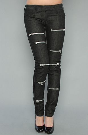 Jeansy zdobione zamkami
