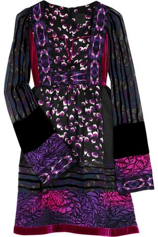 sukienka, anna sui, trapez, patchwork, fiolet