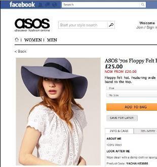 ASOS rozpoczyna sprzedaż przez Facebooka