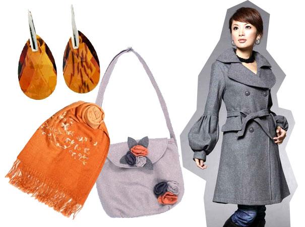 Pomarańczowy szal i szary płaszcz?
