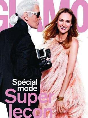 Karl Lagerfeld na okładce francuskiego wydania Glamour