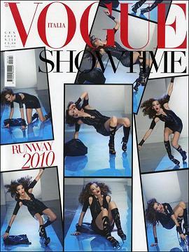 Upadająca modelka na okładce Vogue Italia