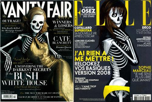 Szkielety na okładkach Elle i Vanity Fair