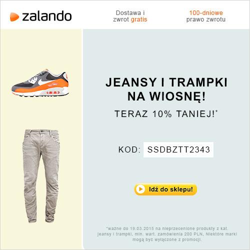 Tylko teraz! Jeansy i trampki w Zalando 10% taniej!