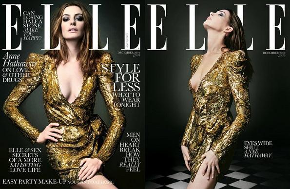 Anne Hathaway na dwóch okładkach grudniowego Elle