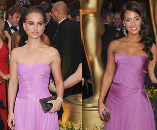 Różowe suknie Natalie Portman i Alicii Keys