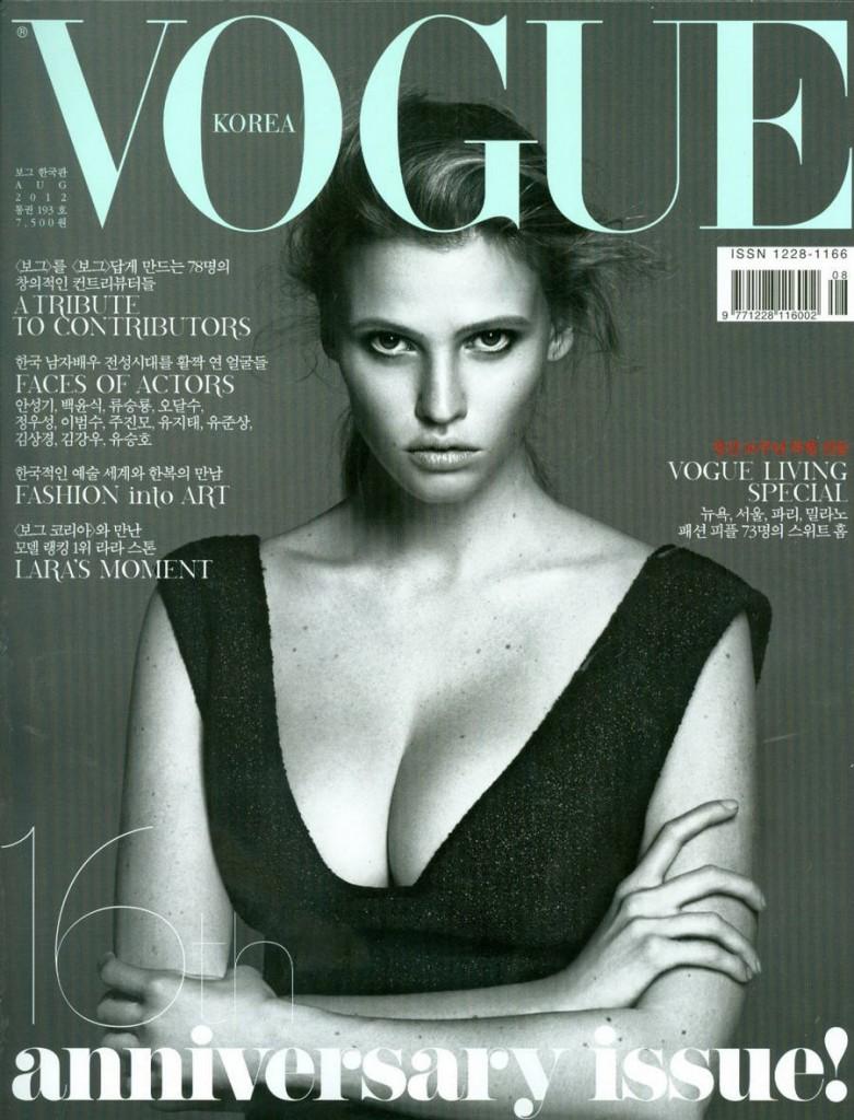 Lara Stone na okładkach Vogue'a