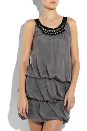 Szara sukienka z jedwabiu i szyfonu