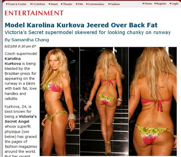 Karolina Kurkova nazwana grubaską