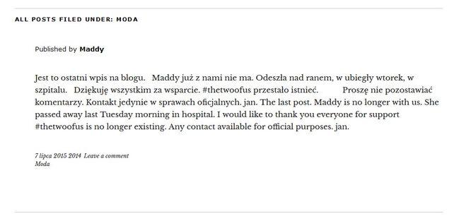 Martyna Ciechanowska, popularna blogerka modowa, nie żyje?