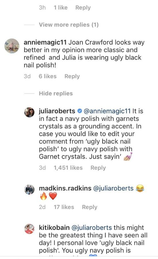 Internauta skrytykował paznokcie Julii Roberts. Aktorka zmiażdżyła go ripostą
