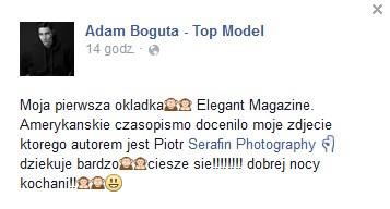 Kariera Adama Boguty kwitnie! Model pojawił się na okładce