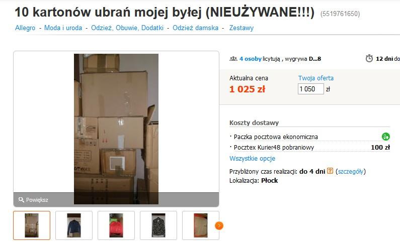 10 kartonów ubrań byłej - ta aukacja stała sie HITEM sieci