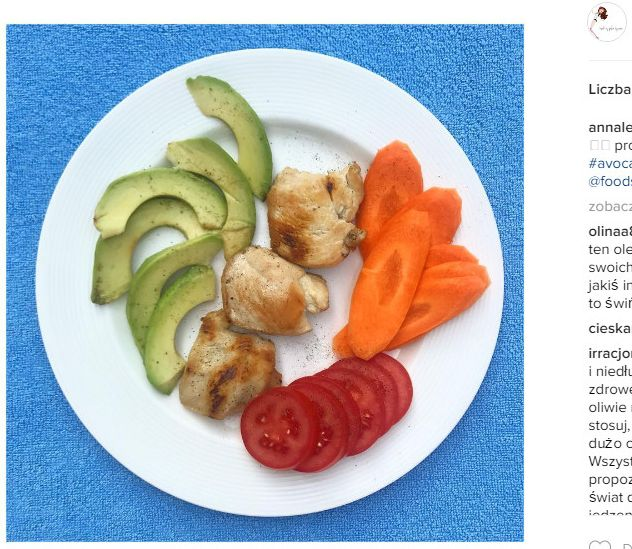 Na pierwsze śniadanie Anna zjada grillowanego kurczaka z awokado i warzywami. Dzięki temu zjada białko i zdrowo tłuszcz. Na drugie śniadanie przygotowuje z kolei muffina bez glutenu w duecie z marchewką. Ponadto je regularnie co trzy godziny.