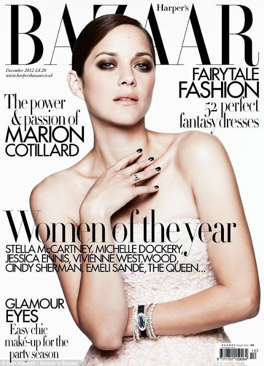 Marion Cotillard na okładce grudniowego Harper's Bazaar