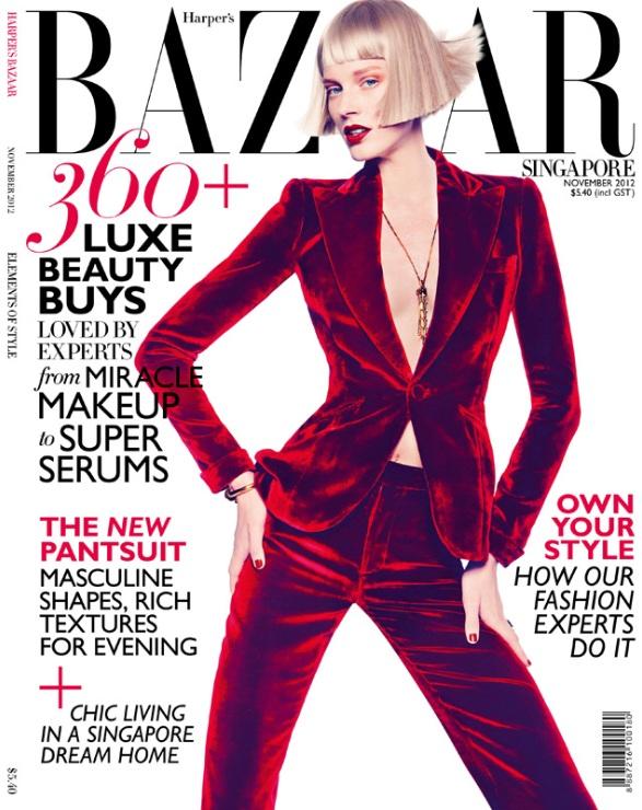 Quinta Witzel w czerwieni dla Harper's Bazaar Singapore