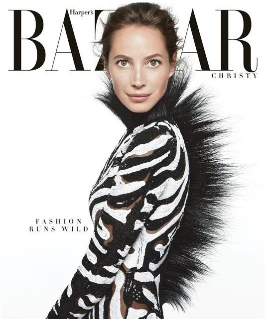Christy Turlington w roli zebry na okładce Harper's Bazaar