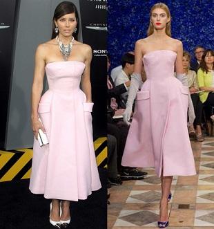 Jessica Biel w sukni Christiana Diora
