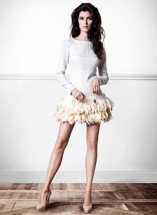 Paulina Drażba na gali Orły 2013 w sukience Bizuu