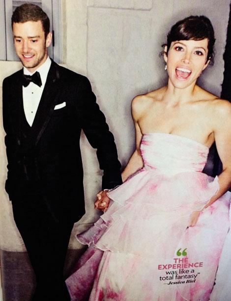 Jessica Biel w różowej sukni ślubnej projektu Giambattista Valli