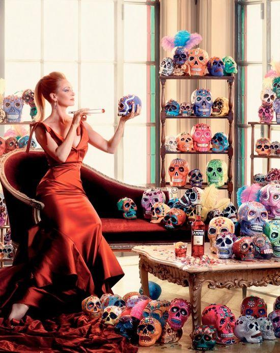 12 twarzy Umy Thurman w egzotycznym kalendarzu Campari