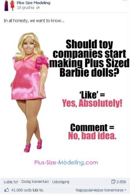 Ludzie chcieliby puszystej Barbie