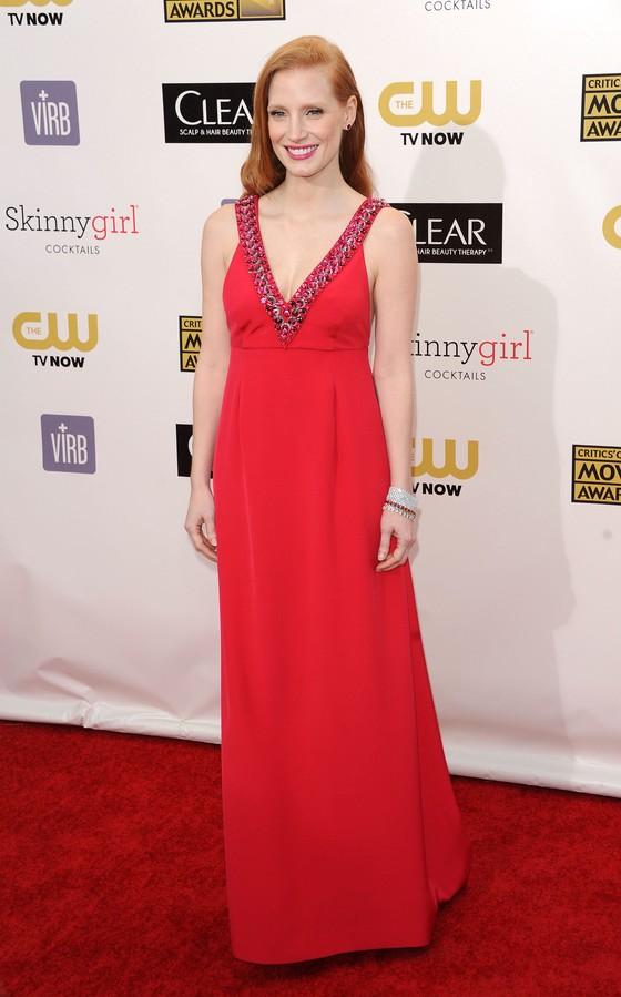 Jessica Chastain w czerwonej sukni