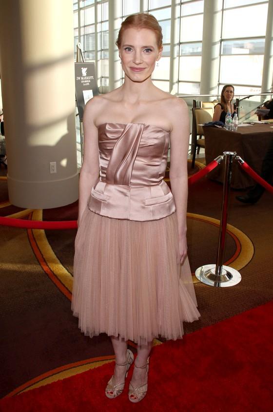 Jessica Chastain w pastelowej sukience