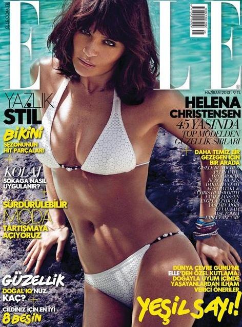 Helena Christensen po raz kolejny w bikini na okładce Elle