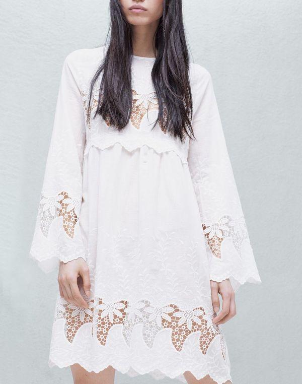 Białe sukienki haftowane - przegląd sieciówek