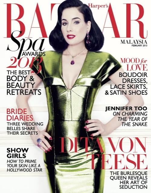 Dita von Teese na dwóch lutowych okładkach Harper's Bazaar