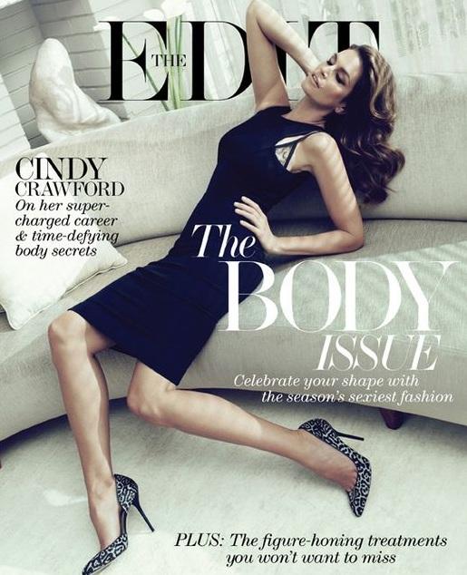 Cindy Crawford w małej czarnej na okładce The Edit