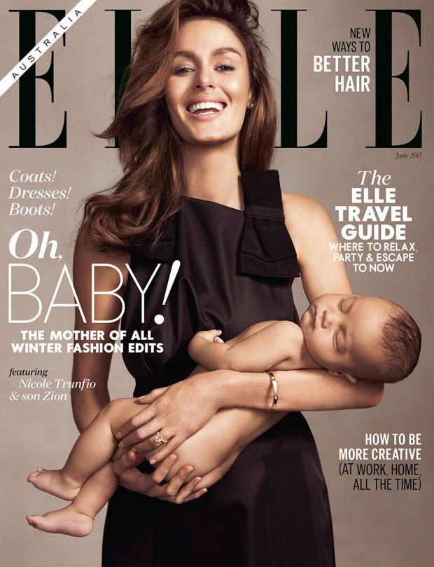 Odważna karmiąca mama, Nicole Trunfio na okładce Elle
