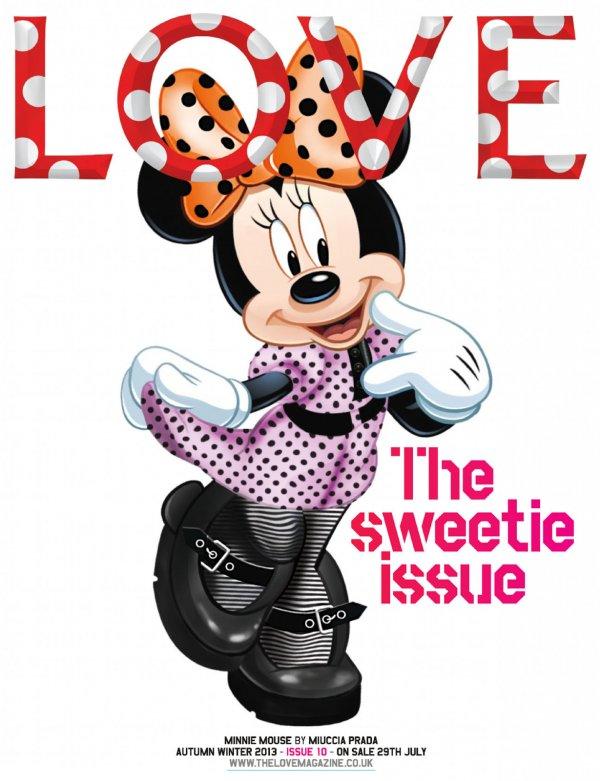 Myszka Minnie ubrana przez Miuccię Pradę na okładce LOVE