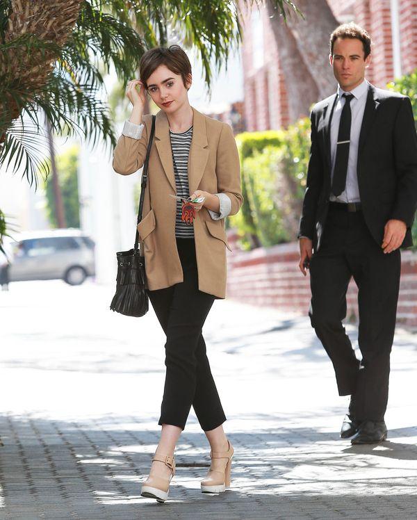 Bardzo udana stylizacja Lily Collins, czyli elegancja i luz
