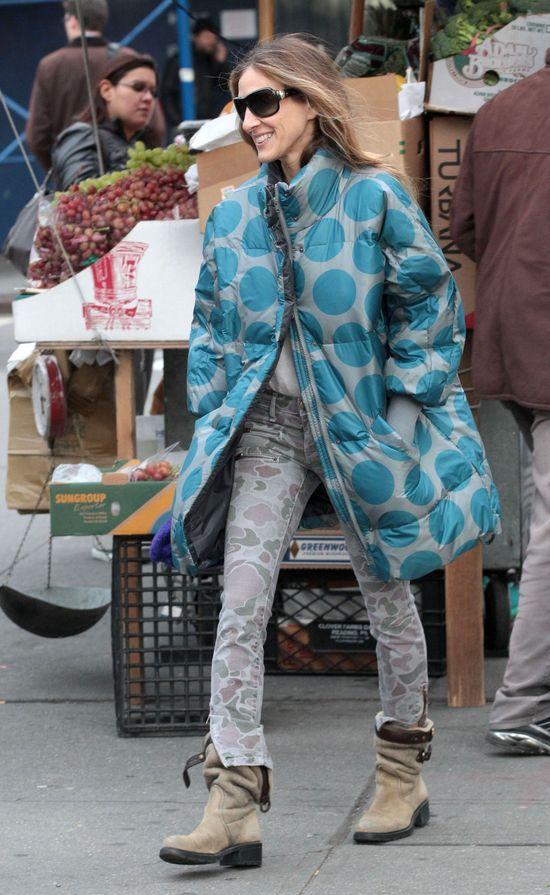 Sarah Jessica Parker w kurtce w kropki (FOTO)