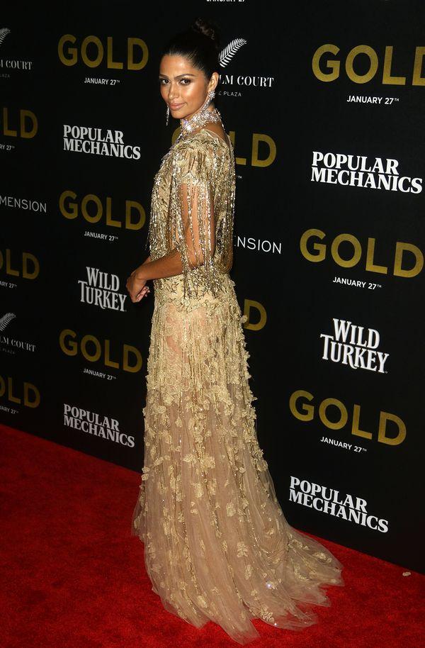 Camila Alves jak skąpana w złocie w kreacji Marchesa (FOTO)