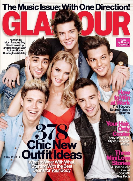 Rosie Huntington-Whiteley i One Direction na okładce Glamour