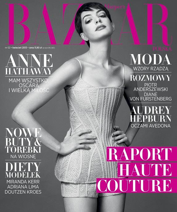 Anne Hathaway  na kwietniowej okładce Harper's Bazaar Polska