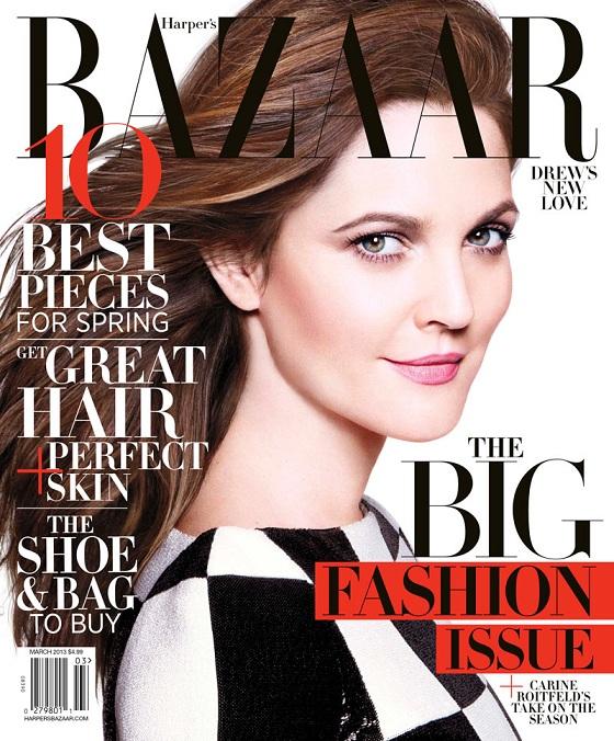 Drew Barrymore na marcowej okładce Harper's Bazaar US