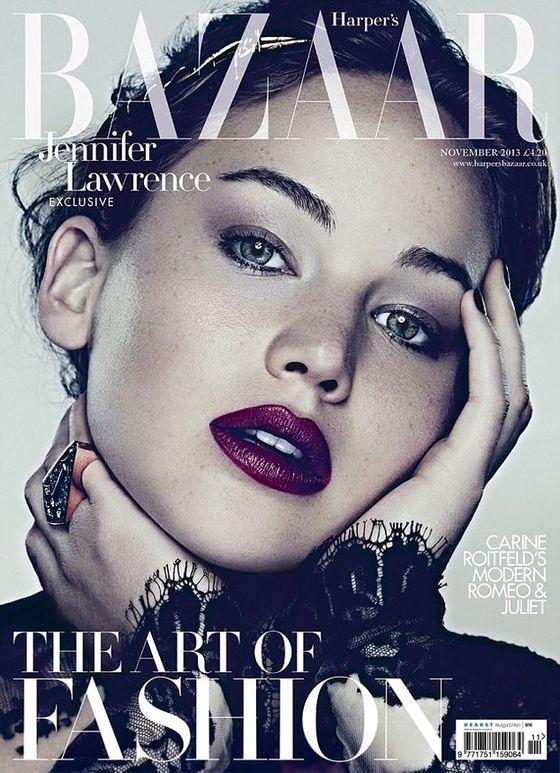 Jennifer Lawrence na dwóch okładkach Harper's Bazaar