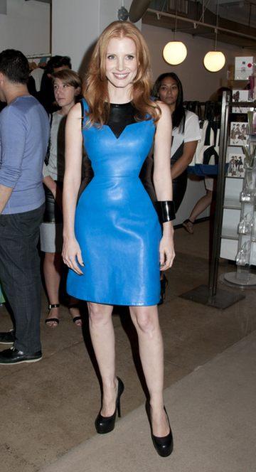Jessica Chastain w skórzanej sukience od Jasona Wu (FOTO)