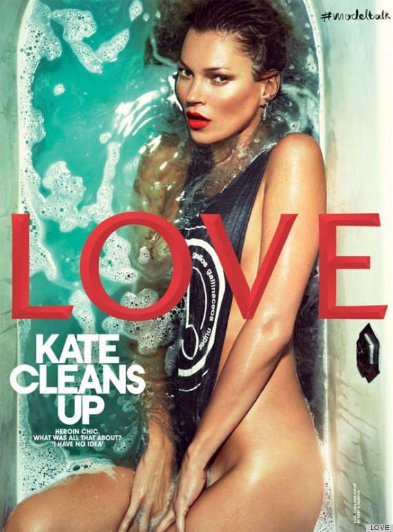 Kate Moss w wannie na okładce Love