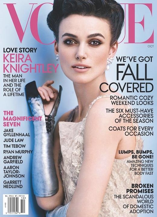 Keira Knightley na okładce październikowego Vogue US