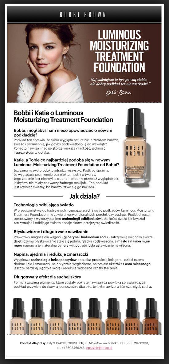 Katie Holmes w reklamie podkładu Bobbi Brown (FOTO)
